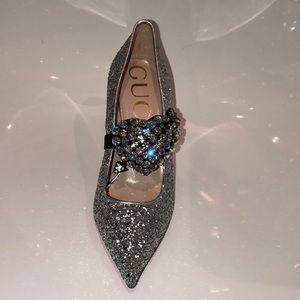 Gucci Shoes - NIB Gucci Virginia glitter pump/ crystal heart.8.5